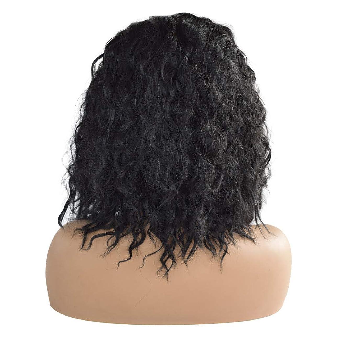 センチメートル登録技術的な黒の短い巻き毛のフロントレース化学繊維かつら18インチ
