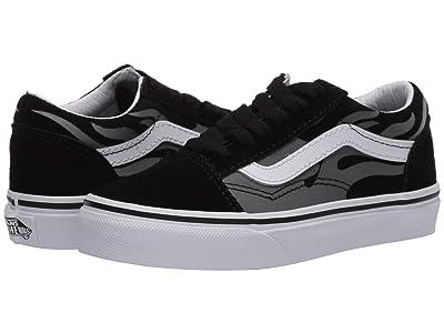 Vans Kids Old Skool (Little Kid) ((Suede Flame) Black/True White) Boys Shoes