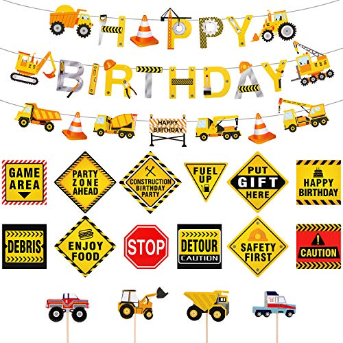 Construction Birthday Party Supplies Dump Truck Party Decorations Kits Set, 39 Pieces in total