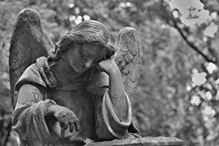 Gifts Delight LAMINATED 36x24 inches Poster: Cemetery Statue Stone Angel Hands Sadness Death Black And White Monument Memory Tombstone