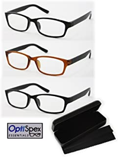 OptiSpex Unisex Plastic Reading Glasses (2.5x) Black, Matte Black & Brown/Black 3 Pack with Protective Case & Microfiber Cleaning Cloth