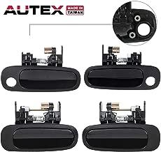 AUTEX Door Handles 4pcs Exterior Front Rear Left Right Side Black Compatible with Toyota Corolla 1998 1999 2000 2001 2002 Door Handles 80422 77431 80421 77426 80423 77563 80424 77567