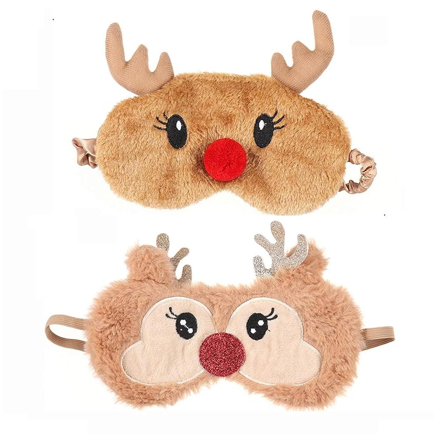 粘性の感情腸NOTE クリスマス鹿アイカバーぬいぐるみ生地睡眠マスクナチュラル睡眠アイマスクアイシェードかわいいアイシェードパッチ用クリスマスプレゼント