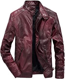 Asiebiul Fashion Men's Autumn and Winter Warm Zipper Locomotive Plus Velvet Leather Stand Collar Long Slim Jacket