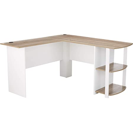 Amazon Com Ameriwood Home Dakota L Shaped Desk With Bookshelves White Sonoma Oak Furniture Decor