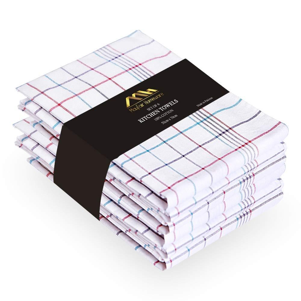 MH Mayfair Home Juego de 6 paños de cocina 100% algodón sin pelusas, toallas de mano superabsorbentes, juego de paños de cocina increíblemente suaves, 50 x 70 cm, paños de limpieza multiusos: Amazon.es: Hogar
