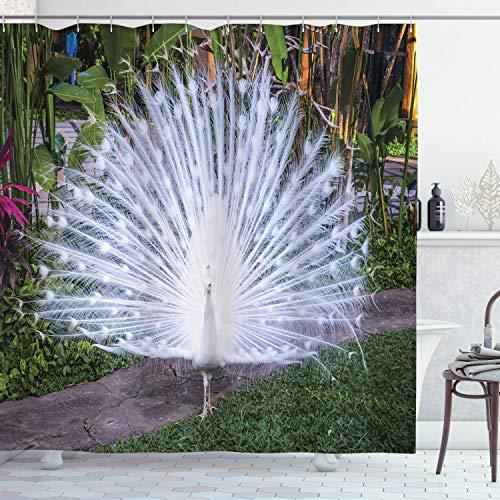 ABAKUHAUS Pfau Duschvorhang, Tropical Garden Feder, Wasser Blickdicht inkl.12 Ringe Langhaltig Bakterie & Schimmel Resistent, 175 x 200 cm, Weiß Grün