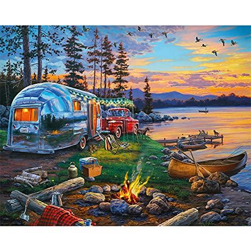 liuyu Kits de pintura de diamante 5D redondo taladro completo Crystal Rhinestone Fotos Arte Kits para decoración de la pared del hogar paisaje junto al lago