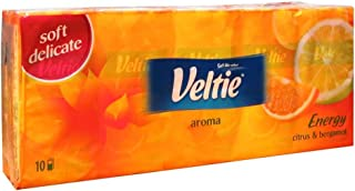 VELTIE AROMA Pocket Tissues for Face and Makeup Removal. Multipurpose. Each Pack contains 10 tissues - total count 100 tissues. Citrus and Bergamot fragranced tissues. Refreshing. Non hypoallergenic.