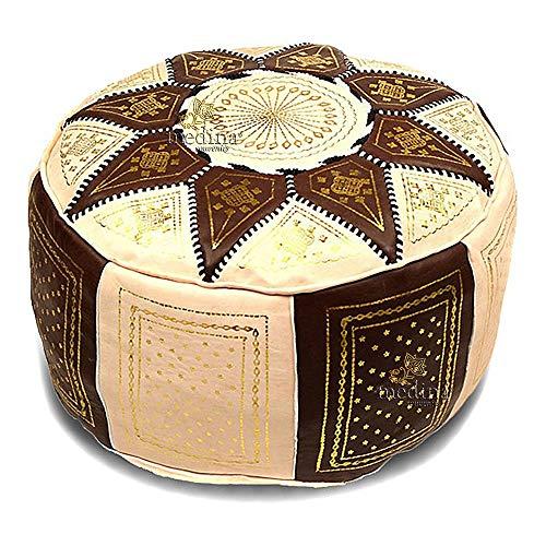 Interamente Fatta a Mano di Alta qualit/à Poof Riempito Medina Souvenirs Pouf Quadrato Nero in Pelle surpiqu/é