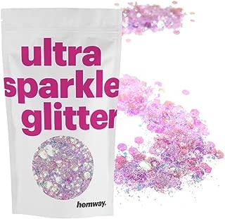Hemway Mermaid Pink Mix Glitter Chunky Multi Purpose Dust Powder Arts & Crafts Wine Glass Decoration Weddings Flowers Cosmetic Face Eye Body Nails Skin Hair Festival 100g