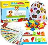 Learning Educational Toys and Gift for 3 4 5 6 Years Old Boys and Girls - See & Spell Matching Letter Game for Preschool Kindergarten Kids - 80 Pcs of CVC Word Builders for Toddler Learning Activities