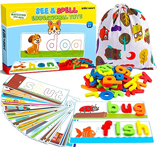 ideal games for 6 year old girls Learning Educational Toys and Gift for 3 4 5 6 Years Old Boys and Girls - See & Spell Matching Letter Game for Preschool Kindergarten Kids - 80 Pcs of CVC Word Builders for Toddler Learning Activities