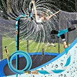 FCLLD Trampoline Sprinkler for Kids Backyard Water Park WaterWhirl Outdoor Game Toys Adjustable Summer Toys Accessories Included Tool Free (Blue)