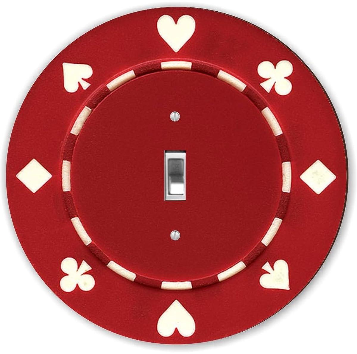 Rikki Knight RND-LSPS-83 Poker Chip Round - Single Toggle Light Switch Plate, Red