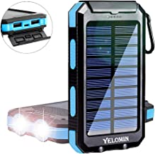 Solar Power Bank,Yelomin 20000mAh Portable Outdoor Waterproof Mobile Charger,Camping External Backup Battery Pack Dual USB 5V 1A/2A Output 2 Led Light Flashlight with Compass for Tablet iPhone Android