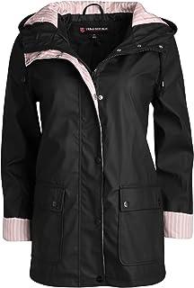 Women's Lightweight Vinyl Hooded Raincoat Jacket, Black, Medium'