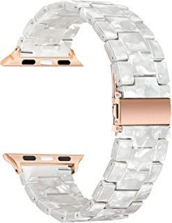 TRUMiRR Watchband Compatible for 38mm 40mm Apple Watch Women, Fashion Resin Watchband Rose Gold Stainless Steel Buckle Strap Bracelet for iWatch Apple Watch Series 5 4 3 2 1 All Models