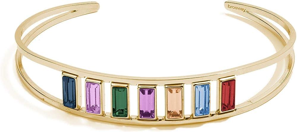Brosway  symphonia bracciale rigido per donna  in acciaio 316le pvd oro con cristalli baguette swarovskimontan BAH19 2