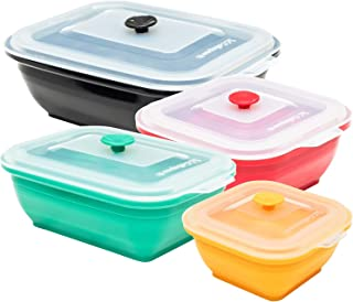 Collapse-it Silicone Food Storage Containers Sampler Pack - BPA Free Airtight Silicone Lids, 4 Piece Set of 7-Cup, 4-Cup, 2-Cup, 1-Cup Collapsible Lunch Box - Oven, Microwave, Freezer Safe + eBook