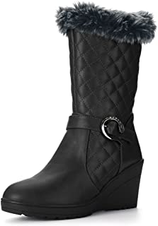 Women's Plush Quilted Low Wedge Heel Mid-Calf Boots