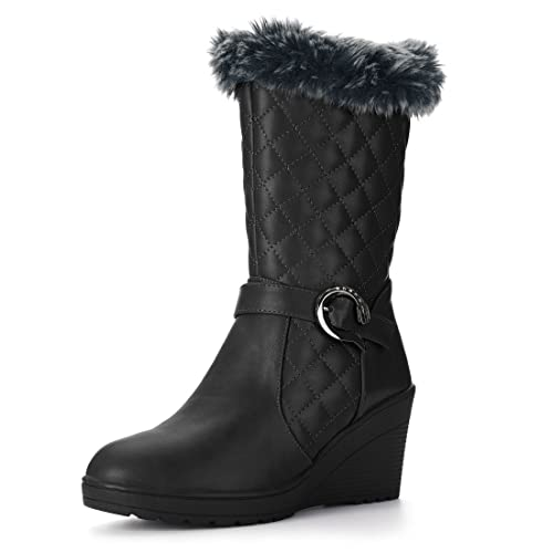 Allegra K Women's Plush Quilted Low Wedge Heel Mid-Calf Boots