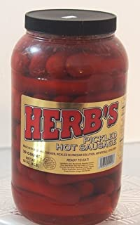 Herbs RED HOT Pickled Sausage (1 Gal. Jar) 39 Count Beef & Chicken No Pork ( From Jersey Candy Company)