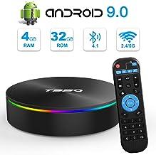 Android TV Box, YAGALA T95Q Android 9.0 TV Box 4GB RAM 32GB ROM Amlogic S905X2 Quad-core Cortex-A53 Bluetooth 4.1 HDMI 2.1 4K Resolution H.265 2.4GHz&5GHz Dual Band WiFi Smart Box