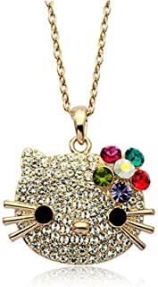 1eb987cdd Gold Plated Hello Kitty Multi-color Swarovski Austrian Elements Crystal Pendant  Necklace Fashion Jewelry