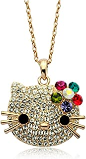Gold Plated Hello Kitty Multi-color Swarovski Austrian Elements Crystal Pendant Necklace Fashion Jewelry
