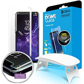 Galaxy S9 Screen Protector [Dome Glass] Full 3D Curved Edge Tempered Glass Shield [Liquid Dispersion Tech] Easy Install Kit and UV Light for Samsung Galaxy S9 - One Pack
