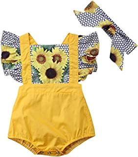 WARMSHOP Playsuit for 0-24 Months, Girls Sunflower Print Patchwork Ruffle Romper with Headband Outfits