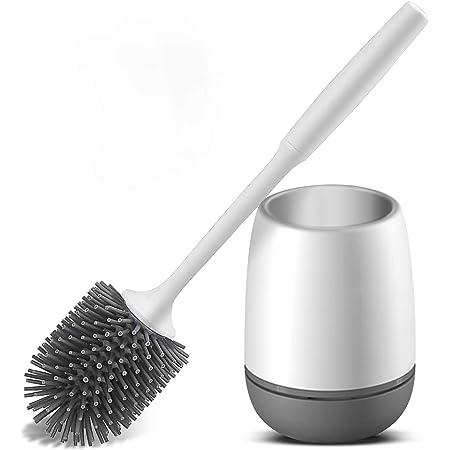 Vandeep Escobilla y Soporte de Inodoro de Silicona, Kit de Soporte de escobilla de baño, Kit de escobilla de Limpieza de Inodoro de Silicona (Mejora del Piso)