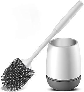 Vandeep Escobilla y Soporte de Inodoro de Silicona, Kit de Soporte de escobilla de baño, Kit de escobilla de Limpieza de I...