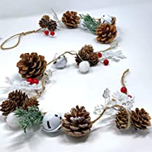 BANBERRY DESIGNS Winter Christmas Garland - Pinecones, Cotton, Pine, Snowflakes, Red Berries - Rustic Farmhouse Christmas ...