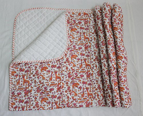 HANDICRAFTOFPINKCITY Hand Block Print Kantha baby Quilt Cotton Fabric Kids Baby Sheet 44 throw by HANDICRAFTOFPINKCITY