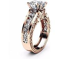 KMG Women Color Separation CZ... KMG Women Color Separation CZ Diamond Rose Gold Floral Wedding Engagement Ring