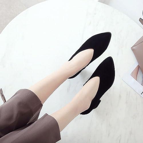 DHG Printemps Au Début du Printemps Talons Hauts Chaussures Paresseuses en Cuir Chaussures Femmes Frougeter Rugueux avec OL Chaussures,Noir 5cm avec,34