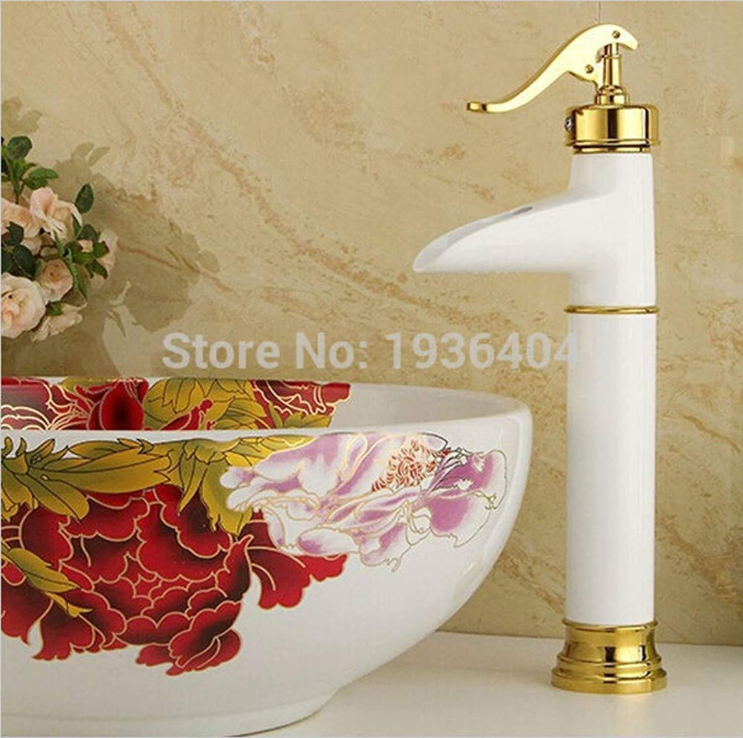 YUJING Single Tap Bathroom Archaize copper faucet basin faucet deck mounted Grilled Weiß paint hot and cold mixer taps