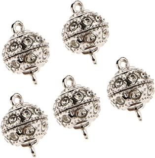 Baoblaze 5pcs Crystal Round Ball Magnetic Beads Clasp for Bracelet Necklace DIY Clasp
