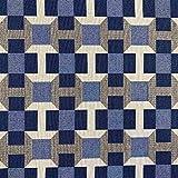 Kt KILOtela Tela de tapicería - Jacquard Gobelino - Retal de 100 cm Largo x 280 cm Ancho | Cuadros - Azul ─ 1 Metro