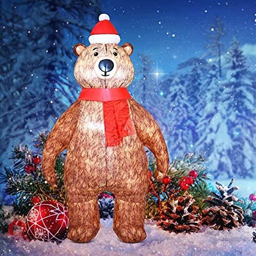 HAO KEAI Decoración Navideña Muñeco Inflable 7 pies DIRIGIÓ Ilumina el Oso Inflable Gigante con el Sombrero de Navidad y la Bufanda roja, explotar la decoración del Patio Interior del jardín del
