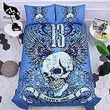 BEDSETAAA Bettwäsche Set 3D Blau Schädel Druck Vier Stück Anzug Bettbezug Kissenbezug Von Innenausstattung 155x215cm C