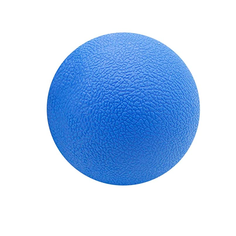段階可愛いさようならフィットネス緩和ジムシングルボールマッサージボールトレーニングフェイシアホッケーボール6.3 cmマッサージフィットネスボールリラックスマッスルボール - ブルー