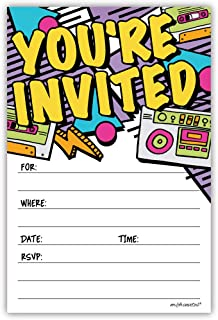 Retro 80s 90s Party Invitations (20 Count) with Envelopes - Hip Hop Party
