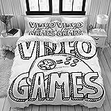 YOUMEISU Doodle Estilo Videojuegos Deportivos,Juego de Ropa de Cama con Funda nórdica de Microfibra y 2 Funda de Almohada - 240 x 260 cm