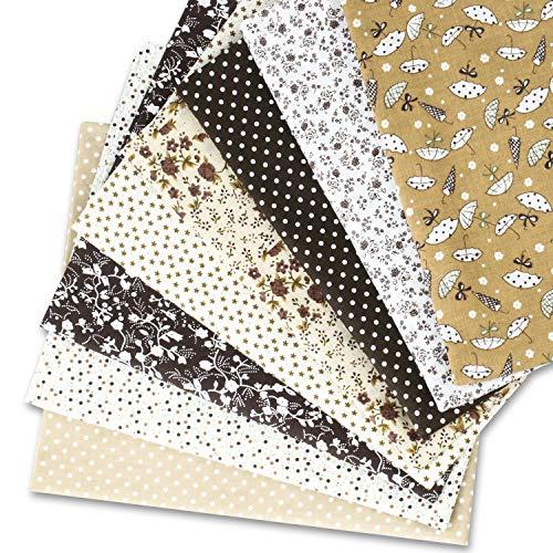 Speedsporting Tissus Coton Couture 8 pièces 50 x 80 cm Tissus en Coton pour Patchwork Paquets de Tissus pour Patchwork et Patchwork de Tissu au Metre Patchwork Multicolore (Café)