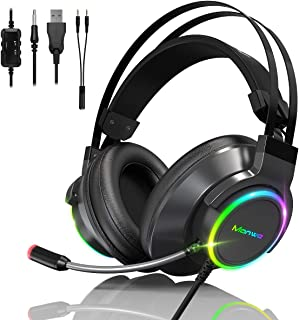 PS5 PS4 PC Xbox One Casque Gaming,Manwe Casque Gamer avec Micro Premium Anti Bruit Audio Stéréo Basse avec LED Lampe Jeux ...