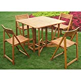 International Caravan Outdoor Patio Royal Tahiti Galveston Stowaway Iron Teak Hardwood Weather Resistant Folding Dining Set (5 Piece, Tan)