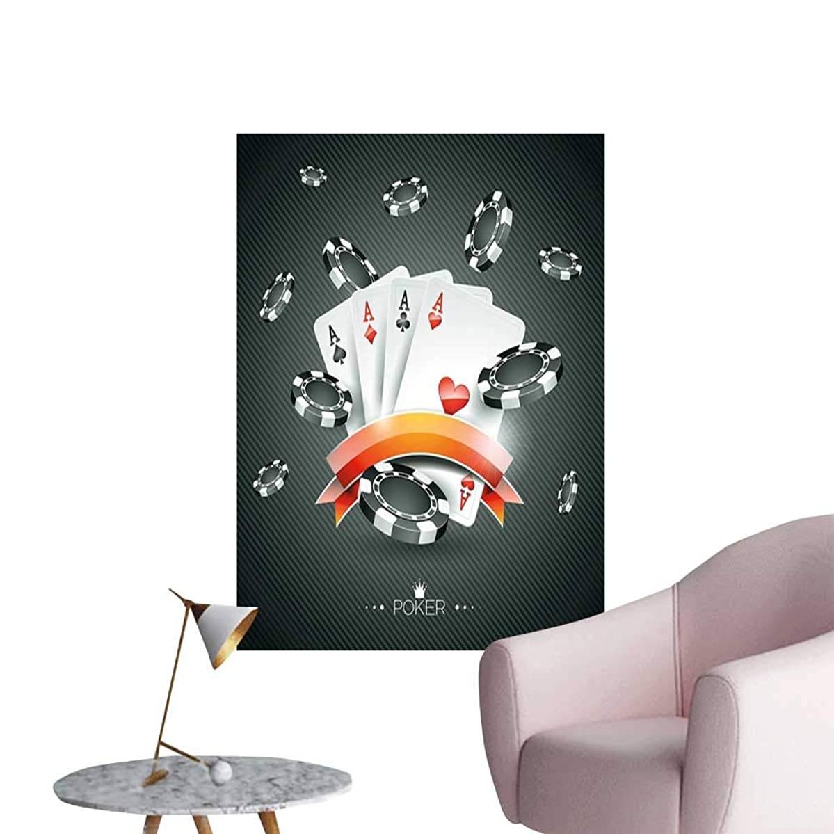 Poker Tournament Decorations Canvas Wall Art Artistic Display Spread Chips with Poker Cards Lifestyle Living Room Wallpaper Black White Red W20 x H28